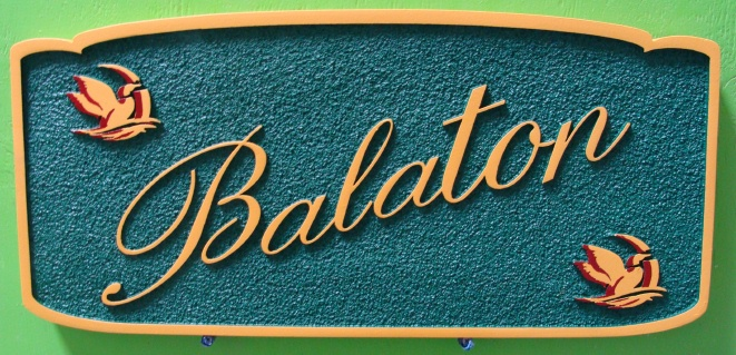 "I18515 - Carved and Sandblasted Residence Name Sign ""Balaton"", with Ducks in Pond"