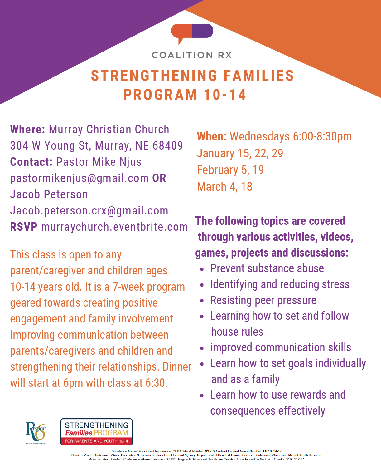 Strengthening Families Program 10-14 hosted by Murray Christian Church