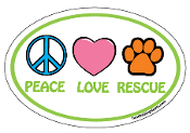 Peace Love Rescue - oval