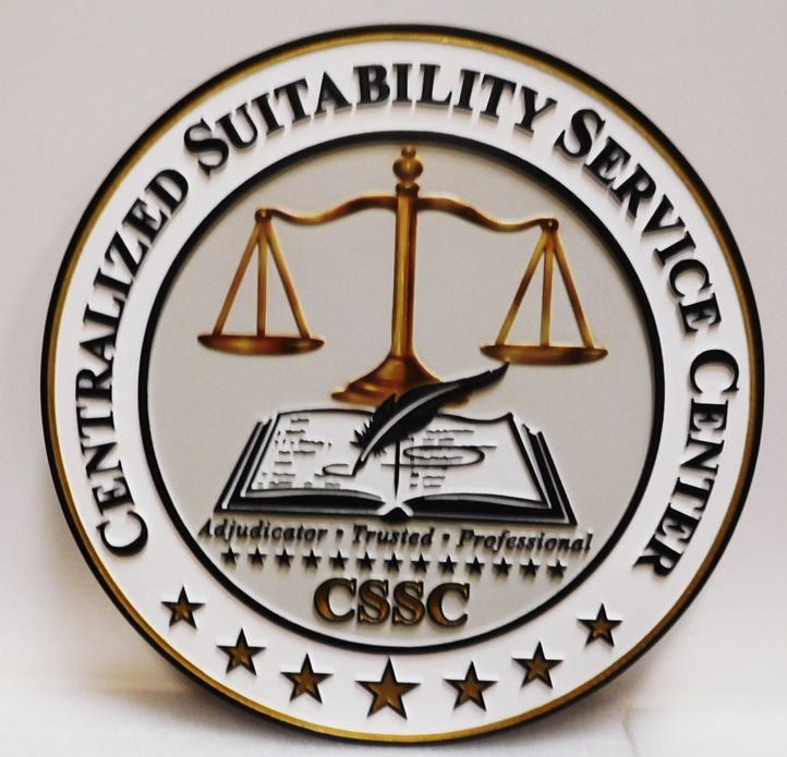 A10201 - Carved, 2.5-D HDU Sign for the Centralized Suitability Service Center, with 24K Gold-leaf Gilded Scales of Justice
