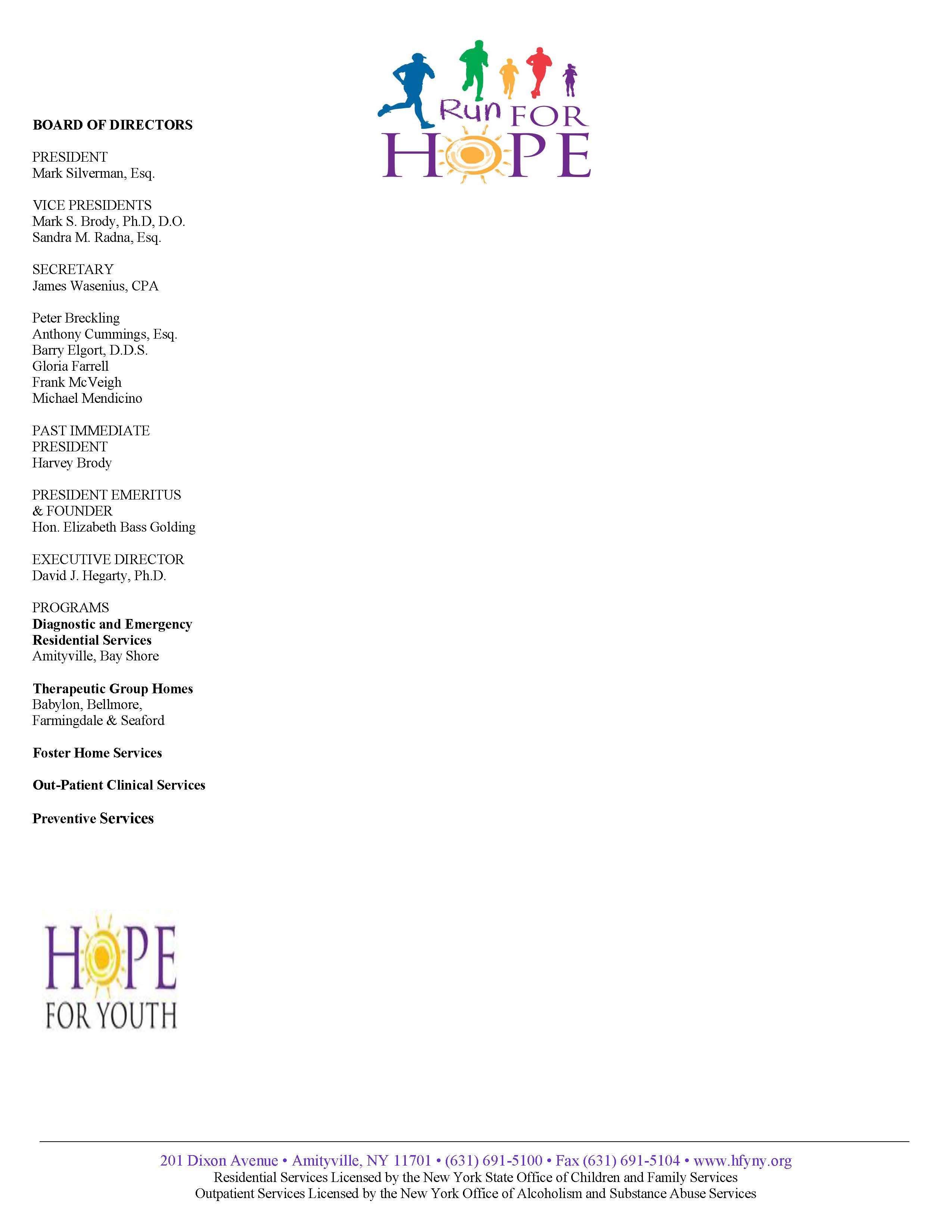 Hope for Youth Letterhead