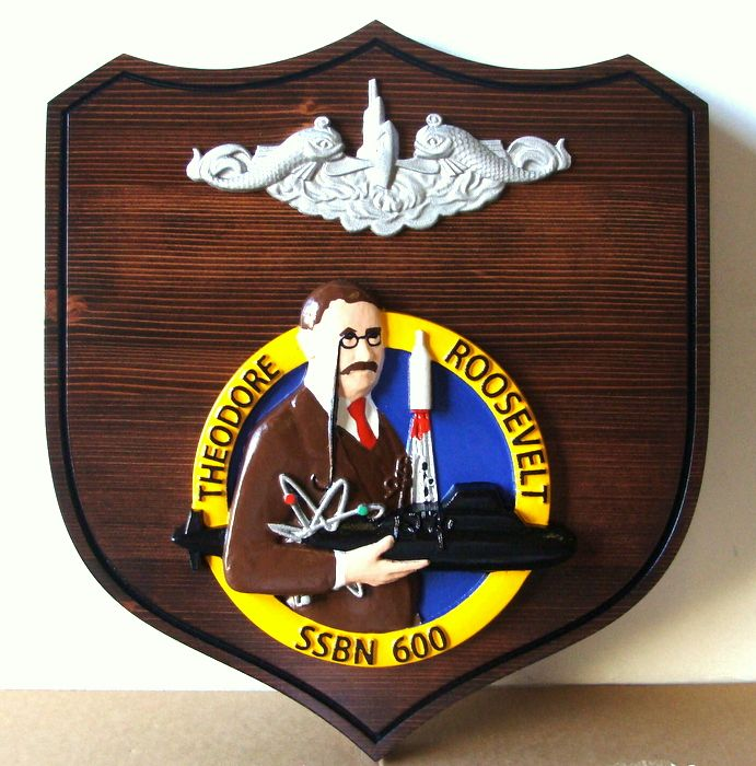 JP-2160 - Carved Shield Ship Plaque for USS Theodore Roosevelt SSBN , Artist Painted on Cedar Wood