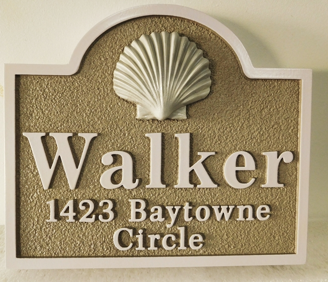 "L21527 - Carved and Sandblasted 3-D HDU Property Name and Address Sign for the ""Walker"" Family features a Carved 3-D  Clam Shell as Artwork"