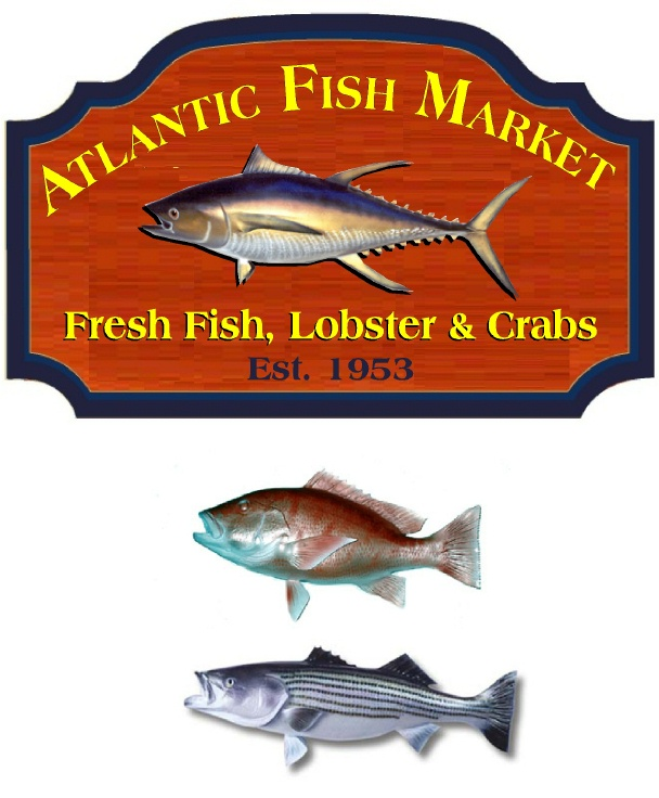 L21949 -  Redwood Fish Market Sign, with Carved 3-D Fish