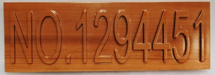 I18955 - Carved Western Red Cedar Wood Address  Number Sign for a  Residence, 2.5-D Raised Relief Text