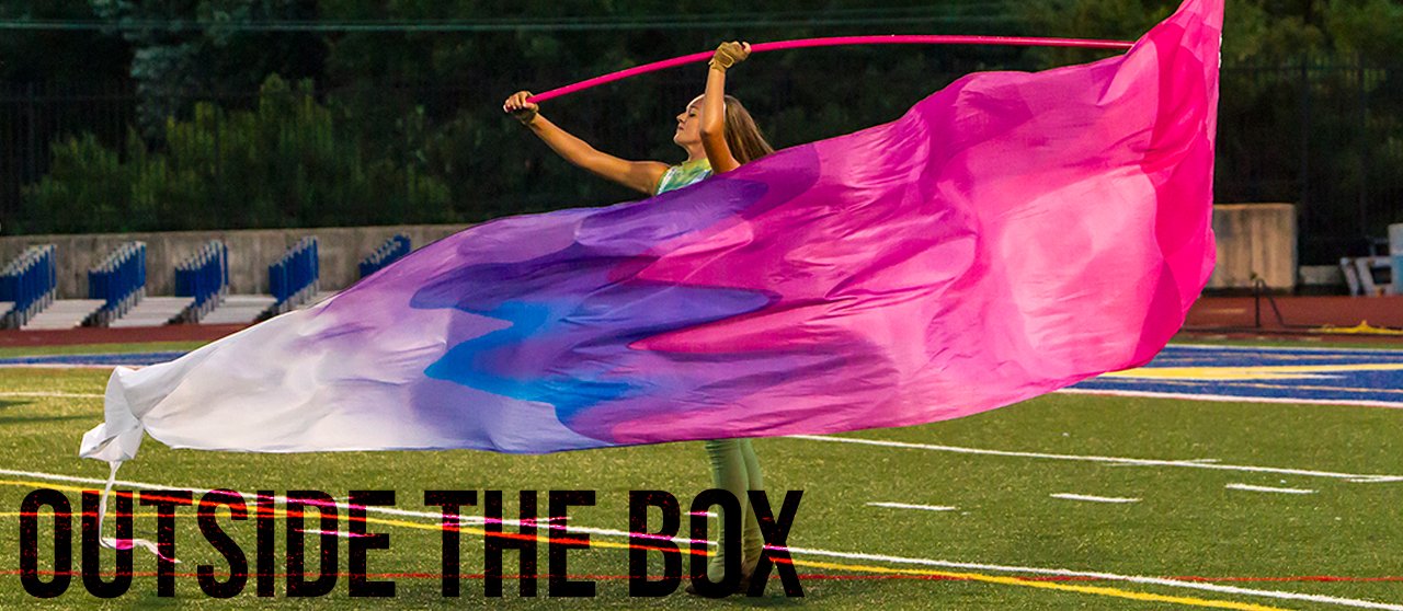 Outside the Box digitally printed color guard flags