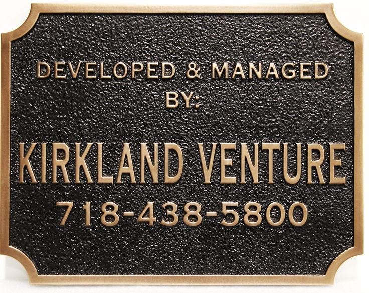 "SA28822 -  Carved  High Density Urethane (HDU) Bronze-Plated Sign  for the ""Kirkland Venture"" Company."