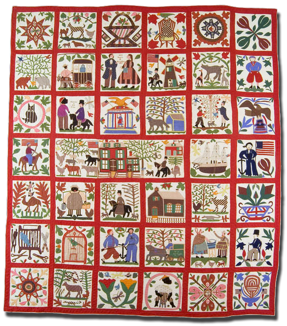 The Reconciliation Quilt, Made by Lucinda Ward Honstain, Made in Brooklyn, New York, United States, Dated 1867, IQSC 2001.011.0001