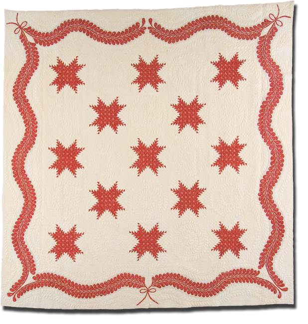 Feathered Star, Maker unknown, Possibly made in Maryland or Pennsylvania, United States, Circa 1840-1850, IQSC 1997.007.0534