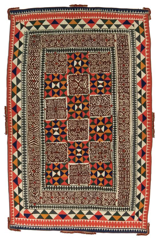 Ralli quilt, probably made in Cholistan, Punjab, Pakistan, circa 1950-1960,82 x 50.5 in,  IQSCM 2006.021.0002