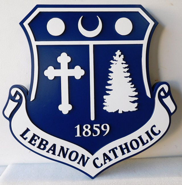 Y34712 - Carved HDU Shield Wall  plaque for the Lebanon Catholic School, with School Logo/Coat-of-Arms
