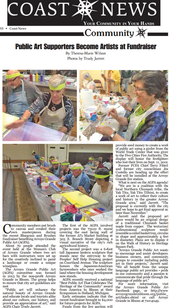 Public Art Supporters Become Artists at Fundraiser - Coast News