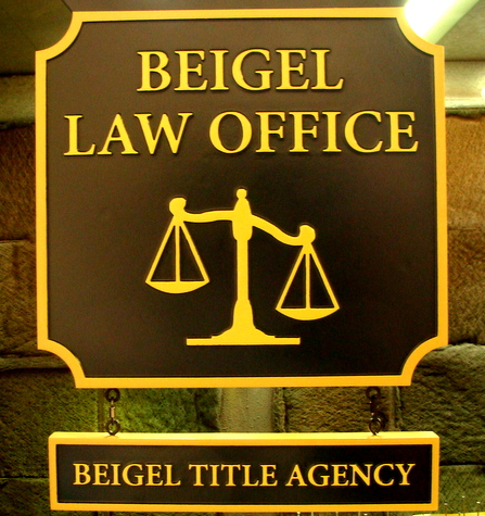 A10137 - Wooden Law Office Sign with Lower Hanging Sign