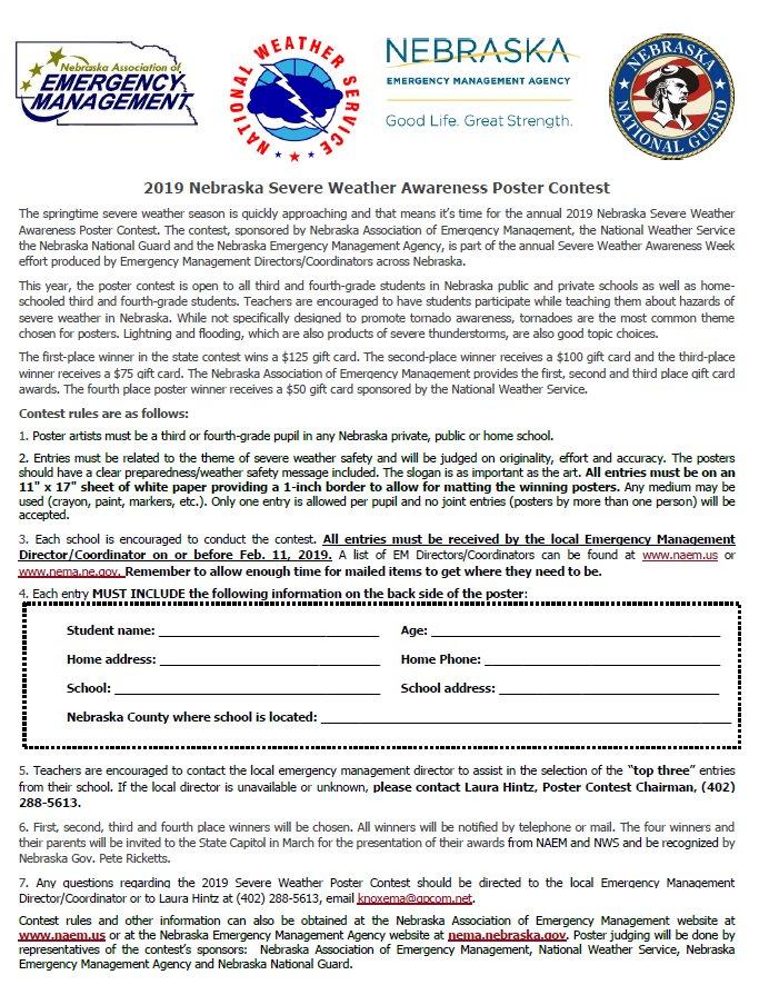 2019 Nebraska Severe Weather Awareness Poster Contest