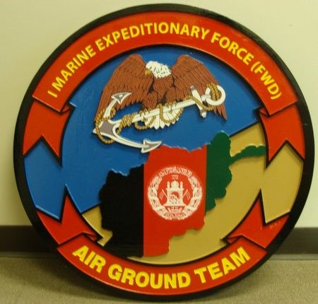 KP-2240 -  Carved Plaque of  the Insignia of the 1 Marine Expeditionary Force, Air Ground Team,  Artist Painted