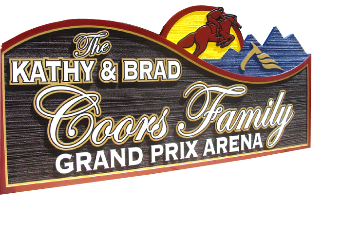 P25001 - Carved and Sandblasted Grand Prix Arena Entrance Sign, for Coors Family in Colorado