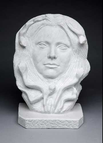 "Medusa, White Carrara marble, 13"" X 18"" X 8"""