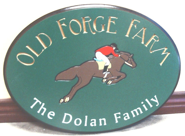 O24214 - Equestrian  Sign for Old Forge Farm,  with Horse and Rider Jumping