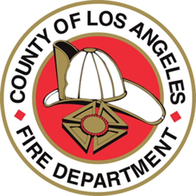 QP-3050 - Carved Wall Plaque of  the Seal  of the County of Los Angeles Fire Department, California, Artist Painted