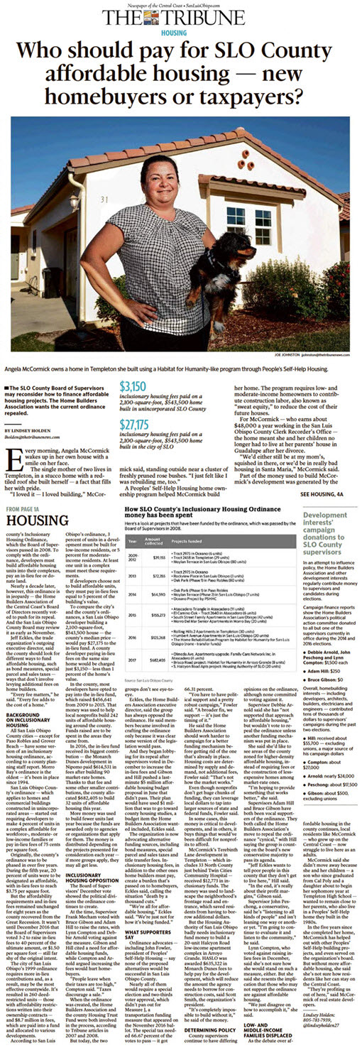 Who should pay for SLO County affordable housing - new homebuyers or taxpayers?