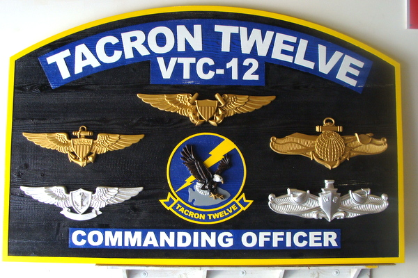 WP5170 -Navy Command Plaque, TACRON-12, 3-D Dark Stained Cedar