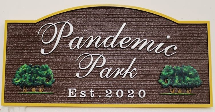 "GA16431 Carved 2.5-D Raised Relief High-Density-Urethane (HDU) Entrance  Sign ""Pandemuc Park"", with 3-D Carved Trees as Artwork"
