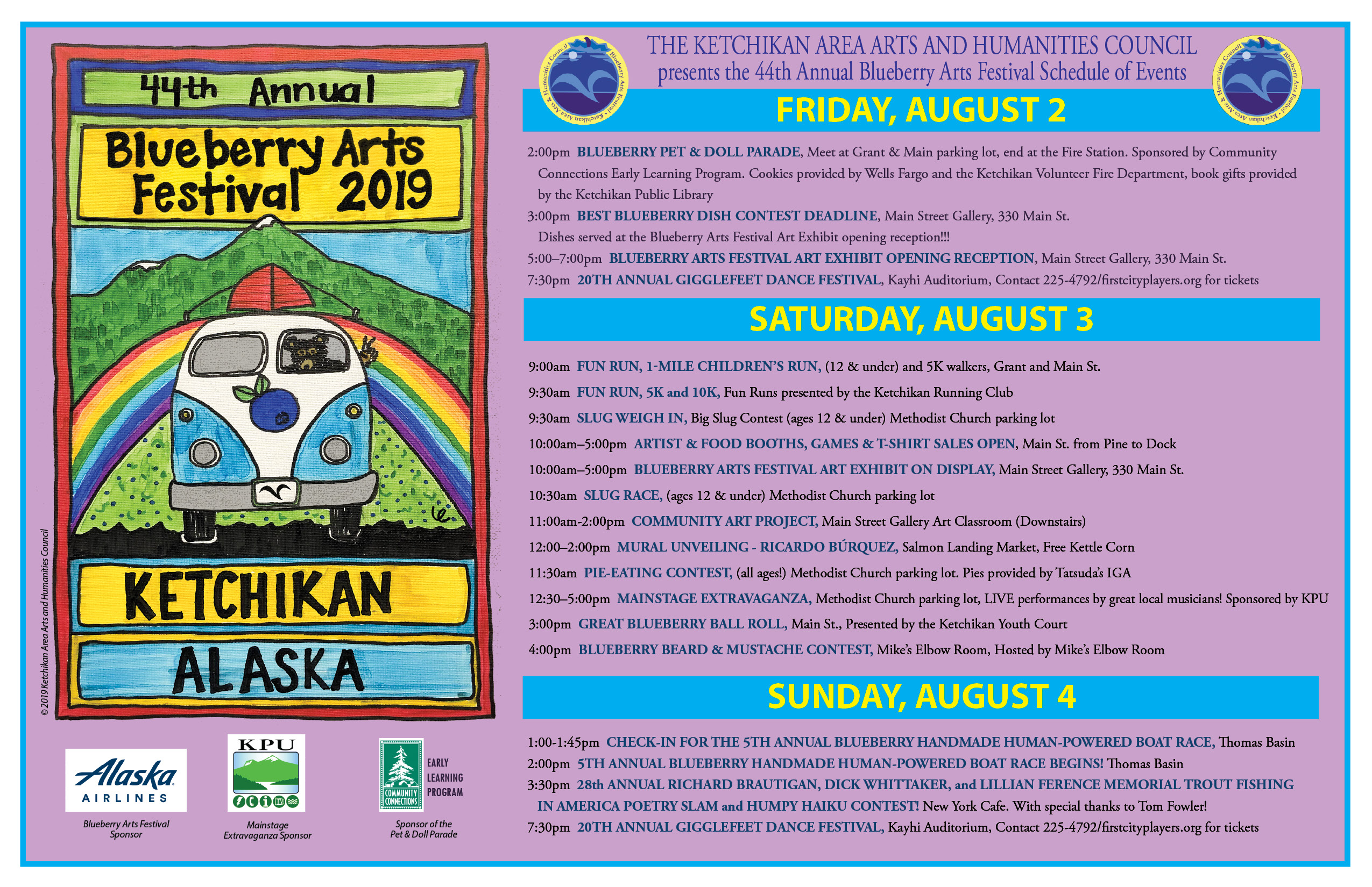 Blueberry Arts Festival Schedule
