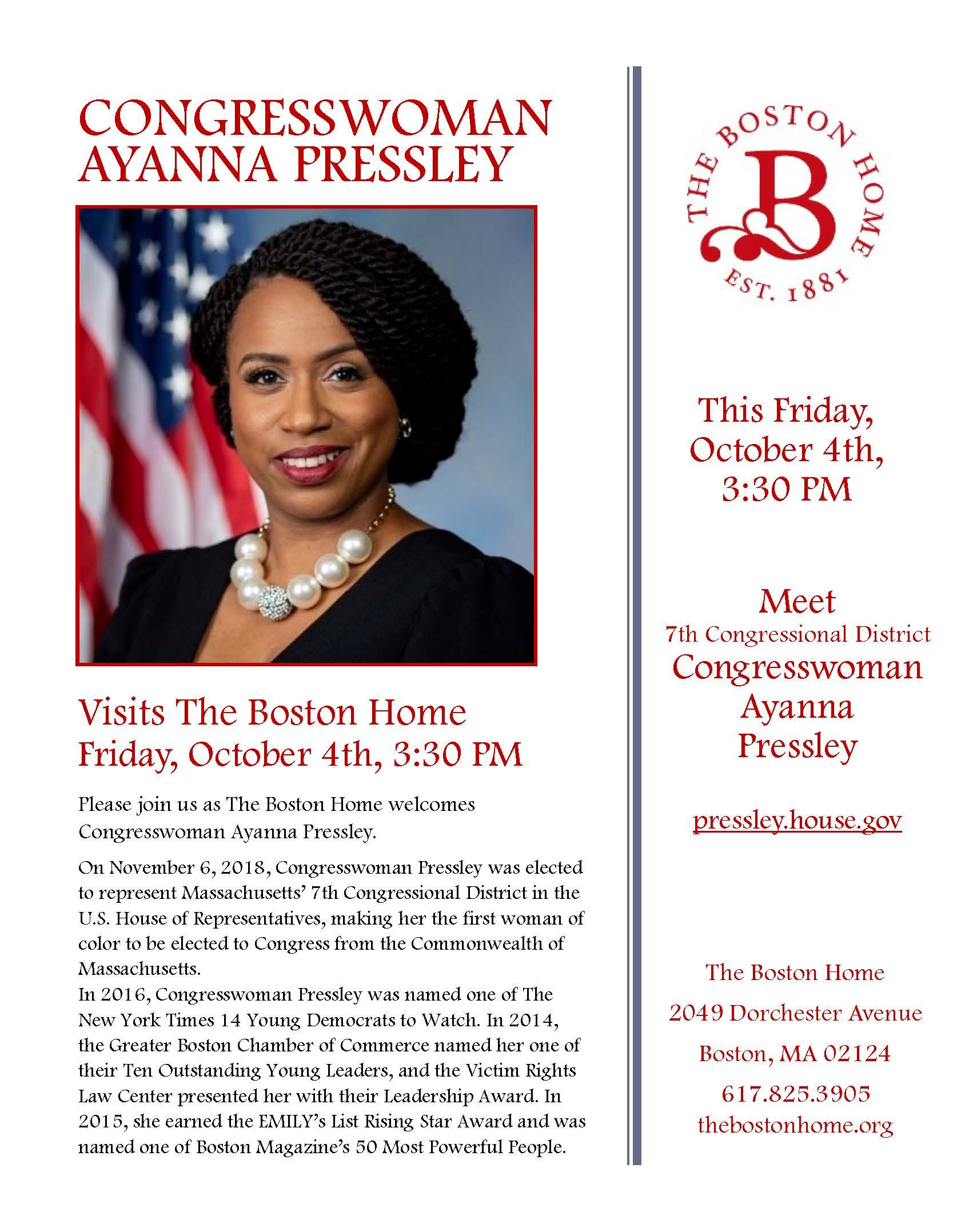 Congresswoman Ayanna Pressley to Visit The Boston Home, Friday, October 4, 2019 at 3:30 pm