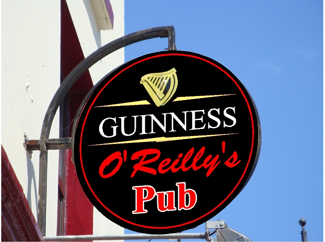 RB27638 - Carved Wood Irish Pub Sign with Guiness , and Irish Harp as Artwork