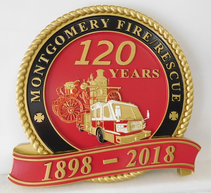 QP-3035 - Carved Wall Plaque of  the Commemorative Seal  of the  Montgomery, Alabama  Fire/ Rescue Department, Artist Painted