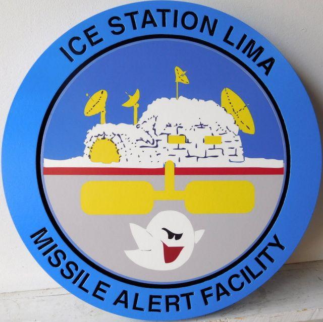 V31294 - Carved Navy Ice Station Zebra Missile Alert Facility Crest Wall Plaque