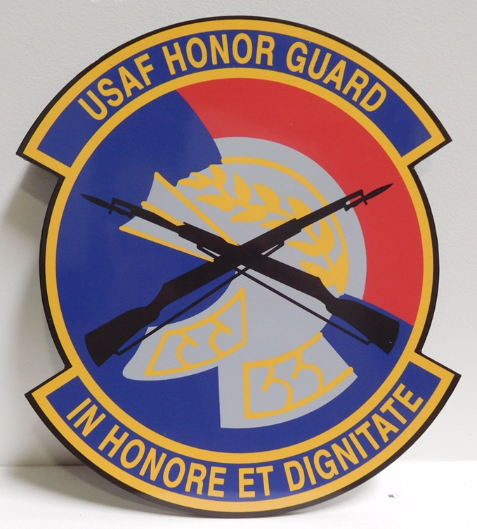 LP-1812 - Carved Plaque of the Crest of the USAF Honor Guard, Artist-Painted