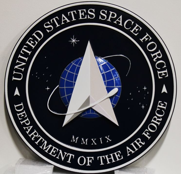 LP-1216 - Carved Plaque of the Seal/Insignia of the Space Force, 3-D Artist-Painted