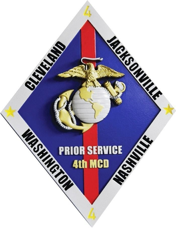 "431433 - Carved 3-D  Plaque for the ""Prior Service, 4th Marine Corps District (MCD)""  , with Globe & Anchor Emblem as Artwork"