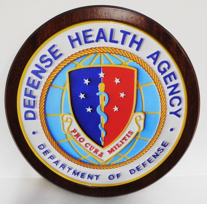 IP-1867 - Carved Plaque of the Seal of the Defense Health Agency, 2.5-D Mahogany Wood Artist-Painted