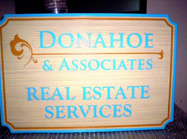 C12320 - Large Outside Sign for Real Estate Sevices company, with Sandblasted Wood Grain background