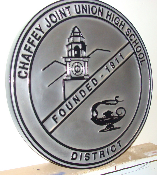 TP-1260- Carved Wall Plaque of Seal of Chaffey Joint High School, Nickel-Silver Plated