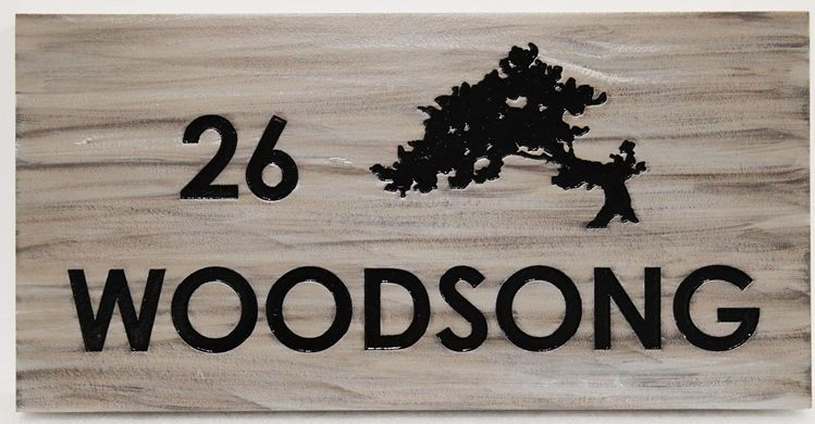 """I18313 -  Engraved Property Name and Address Sign for the """"Woodsong"""" Residence"""
