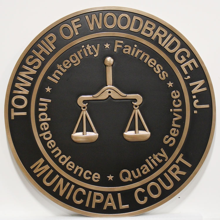 M7018  - 3D Bronze-platedCarved HDU Seal of the Municipal Court of the Town of Woodbridge, New Jersey