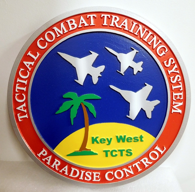 MP-1280 - Carved Plaque of the Emblem  of the US Army Tactical Combat Training System at Key West,  Artist Painted