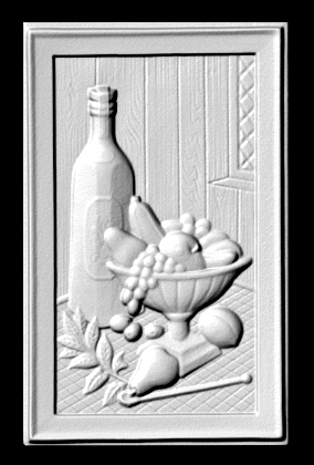 R27905 - Rectangular Carved Wood Applique for Personalized Wine Plaque,  with Wine Bottle and Fruit Bowl