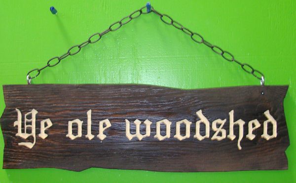 "GC704 - Carved and Sandblasted Oak Sign, ""Ye Old Woodshed"" - $105"