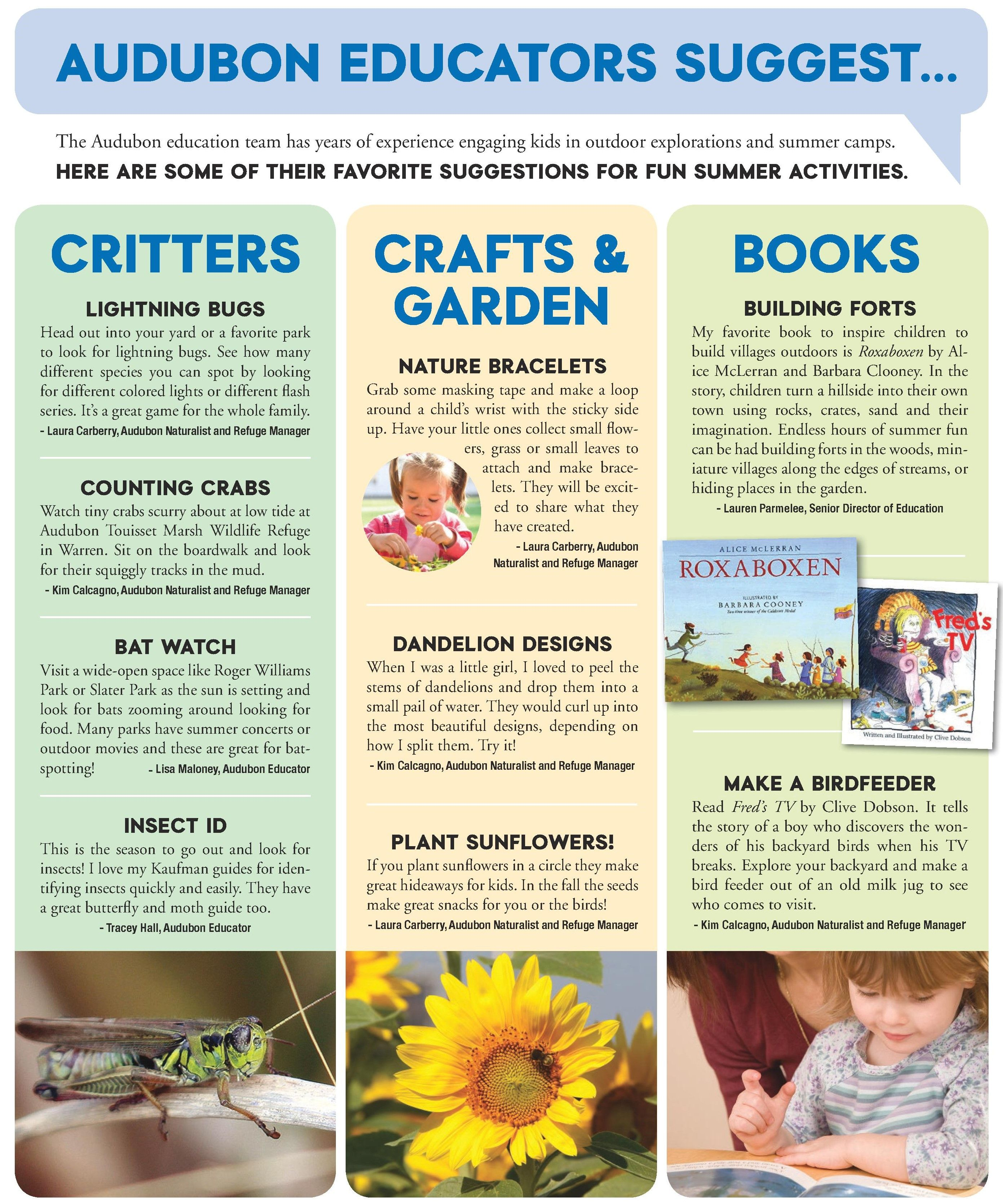 Audubon Society of Rhode Island, Summer Activity Idea Guide, Things to do outdoors with Children, Nature Explorations