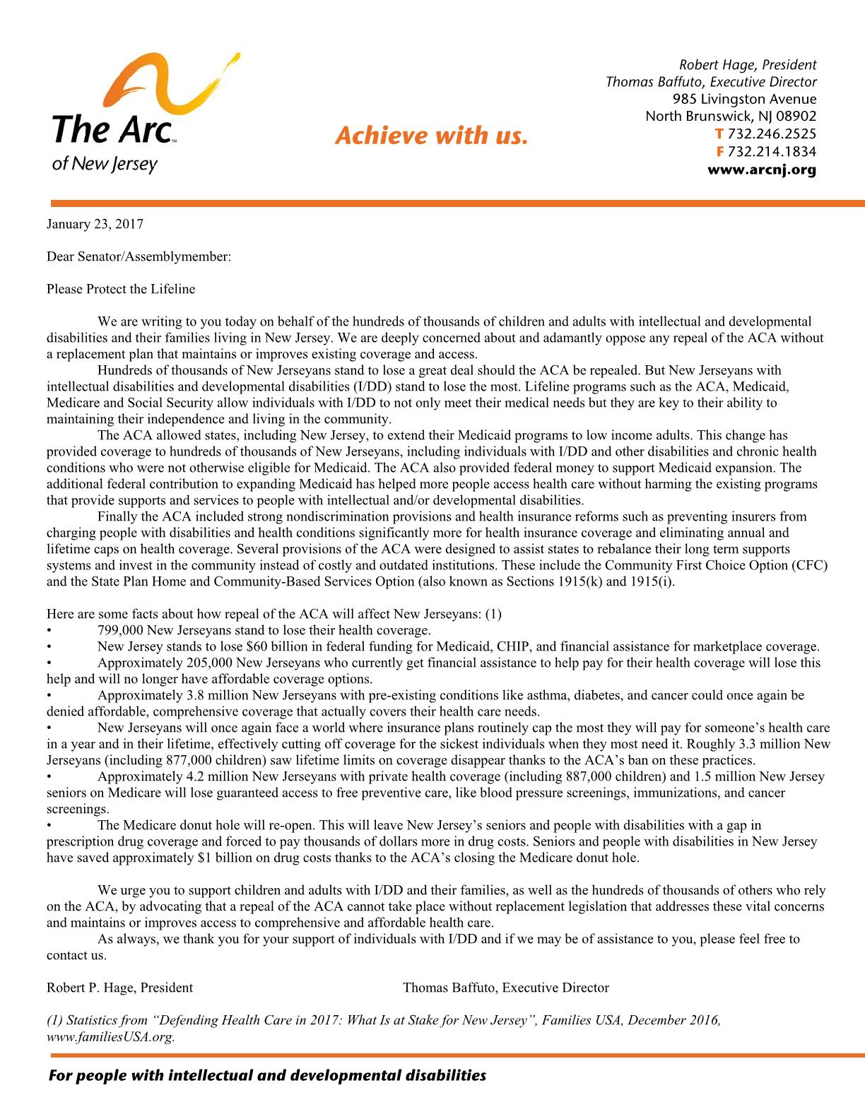 Letter to NJ Legislature - 1.23.2017