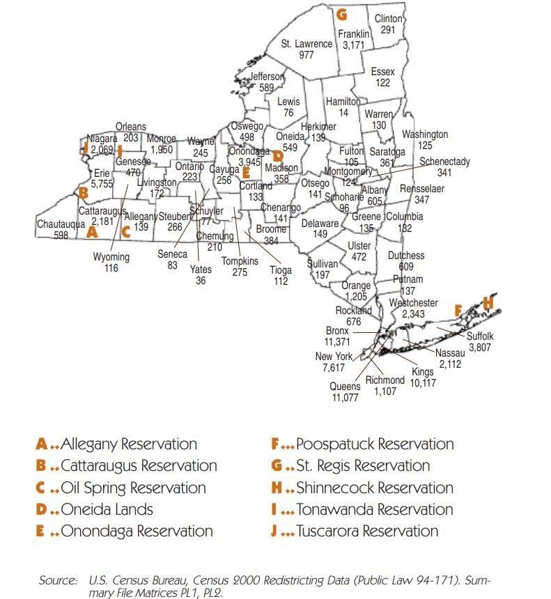 New York State Tribes and population