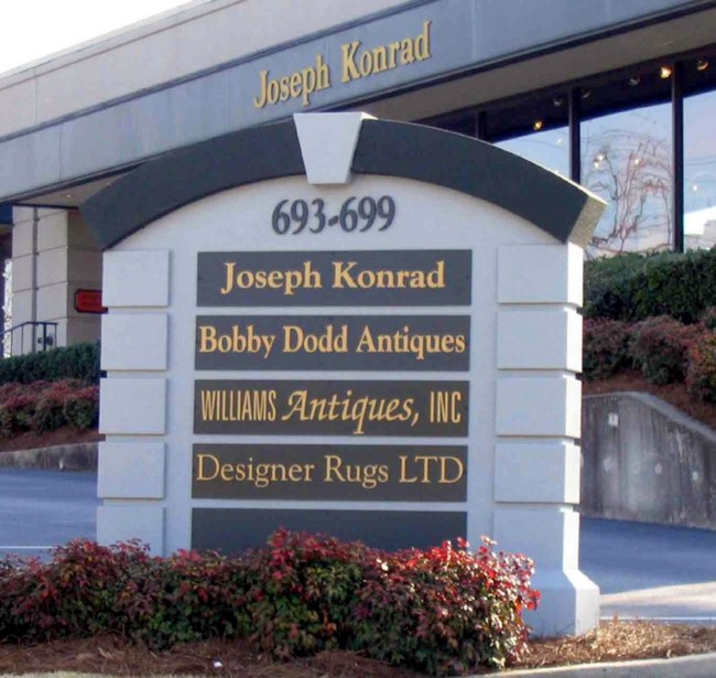 "S28189 - Monument Business Directory  Entrance Sign for ""Joseph Konrad"" Retail Store Complex, with Replaceable Store Nameplates"