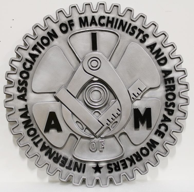 VP-1435 - Carved Plaque of the Seal /Logo of the International Association of Machinists and Aerospace Workers (IAM)