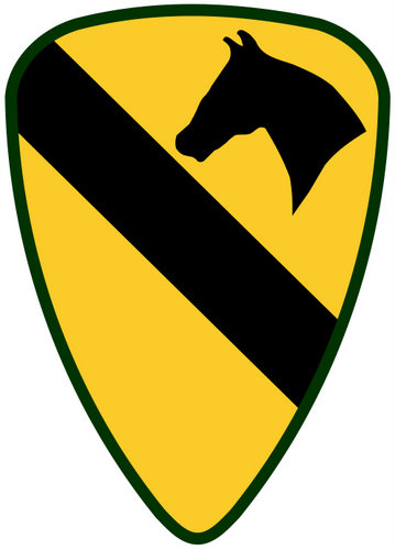 """MP-1515 - Carved Plaque of the Insignia of the  First Cavalry Division, the """"First Team"""", US Army,  Artist Painted"""