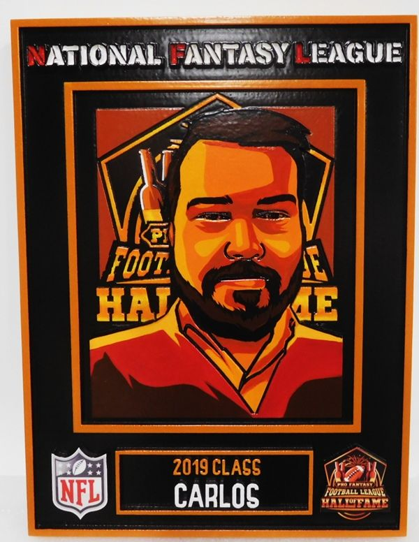 UP-3280 - Carved Plaque for National Fantasy Football League Player Carlos
