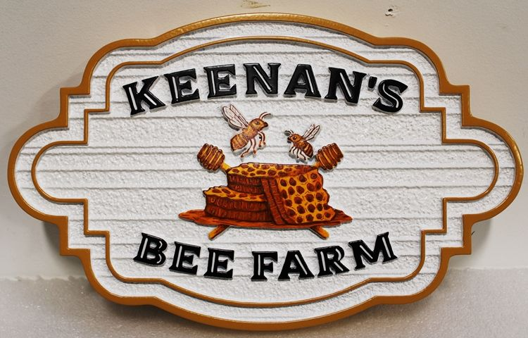 """O24751 - Carved and Sandblasted Wood Grain HDU Sign for """"Keenan's Bee Farm , with Bees and Honeycomb as Artwork"""